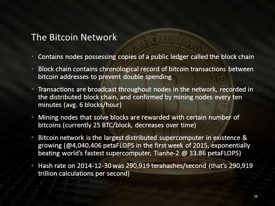 The Bitcoin Network Contains nodes possessing copies of a public ledger called the block chain.