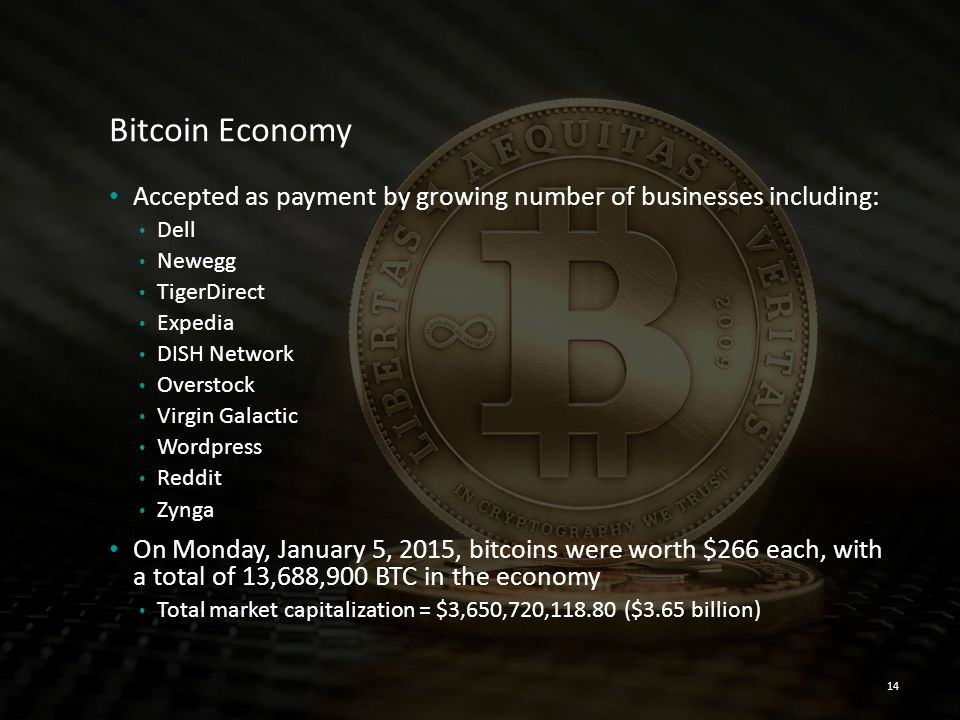 Bitcoin Economy Accepted as payment by growing number of businesses including: Dell. Newegg. TigerDirect.
