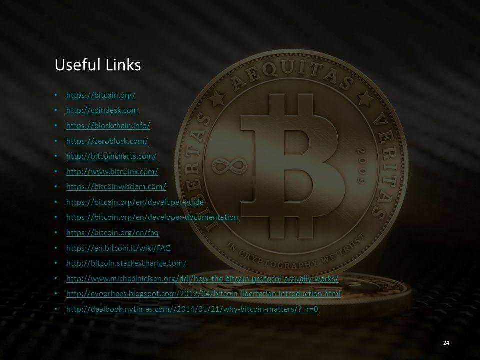 Useful Links https://bitcoin.org/ http://coindesk.com