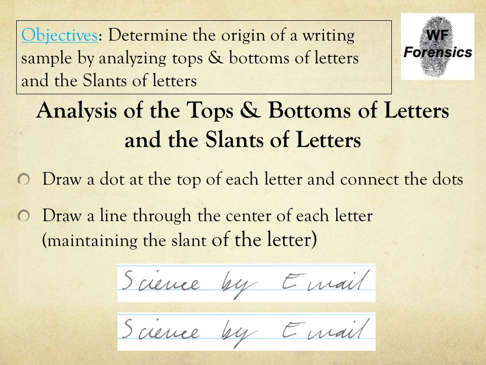 Analysis of the Tops & Bottoms of Letters and the Slants of Letters