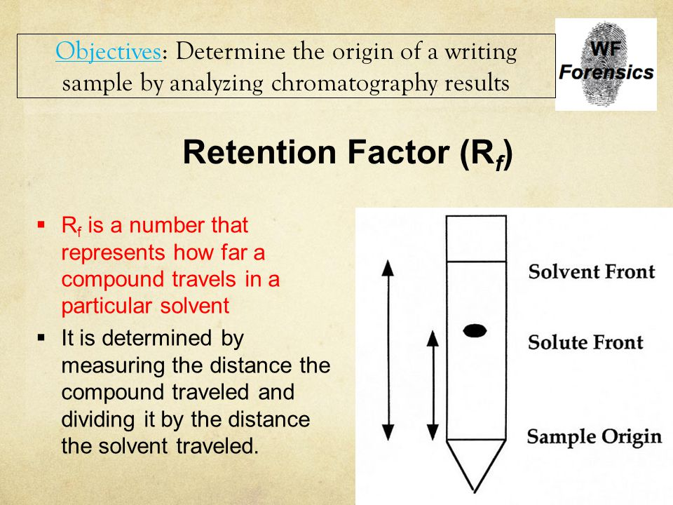 Objectives: Determine the origin of a writing sample by analyzing chromatography results