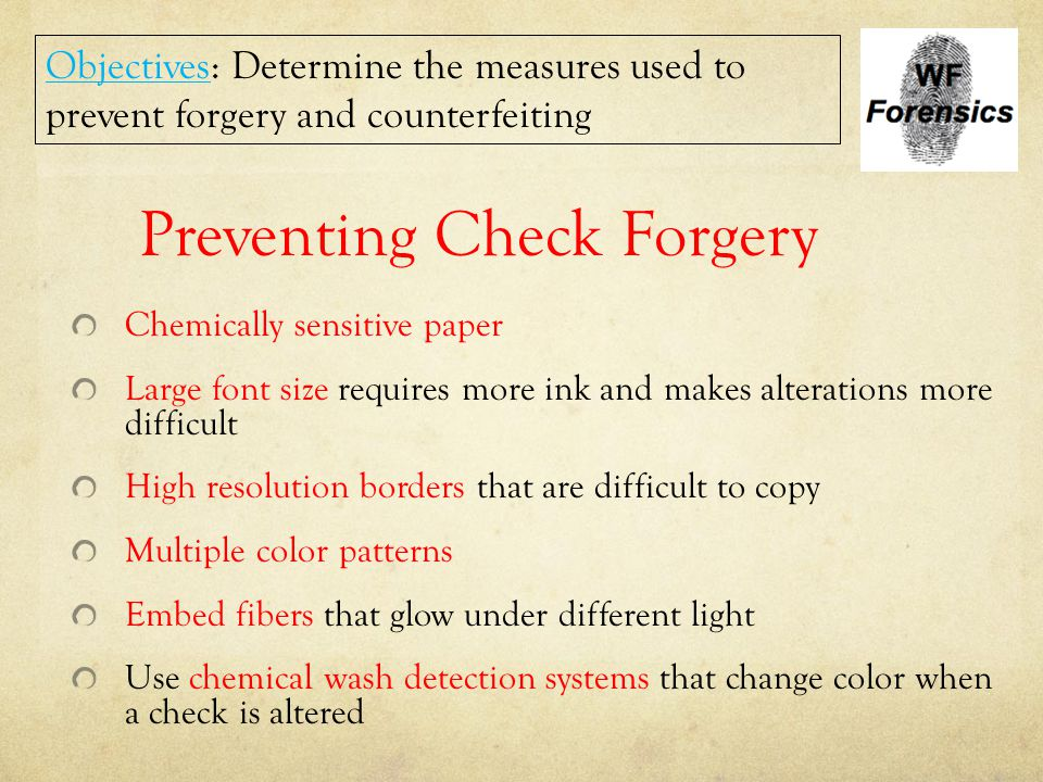 Preventing Check Forgery