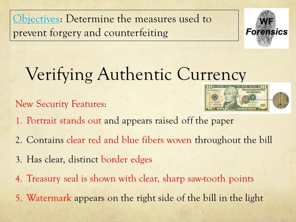 Verifying Authentic Currency