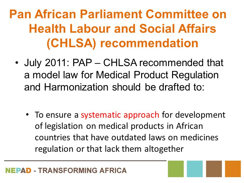 Pan African Parliament Committee on Health Labour and Social Affairs (CHLSA) recommendation