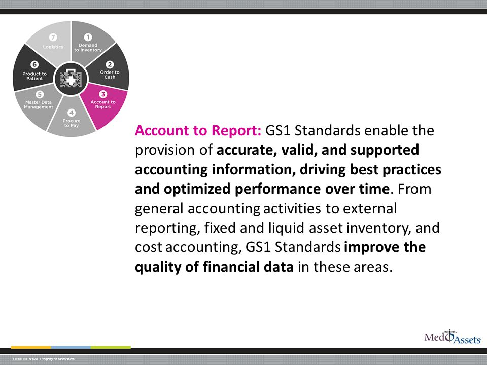 Account to Report: GS1 Standards enable the provision of accurate, valid, and supported accounting information, driving best practices and optimized performance over time.