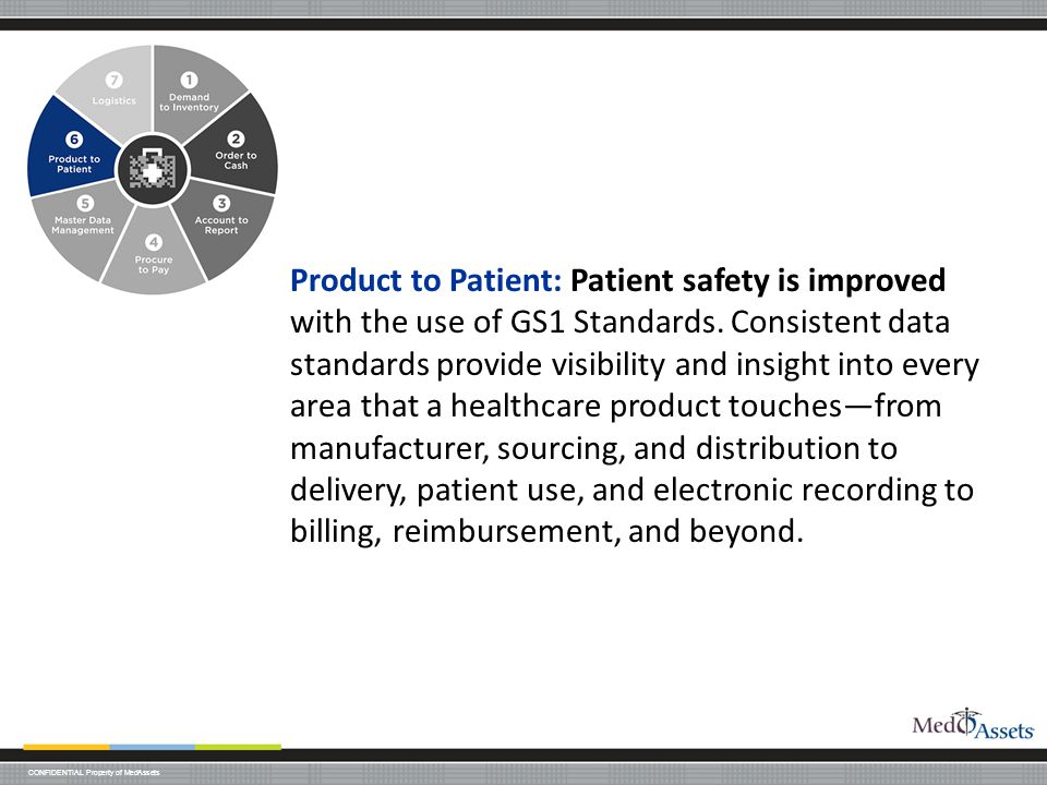 Product to Patient: Patient safety is improved with the use of GS1 Standards.