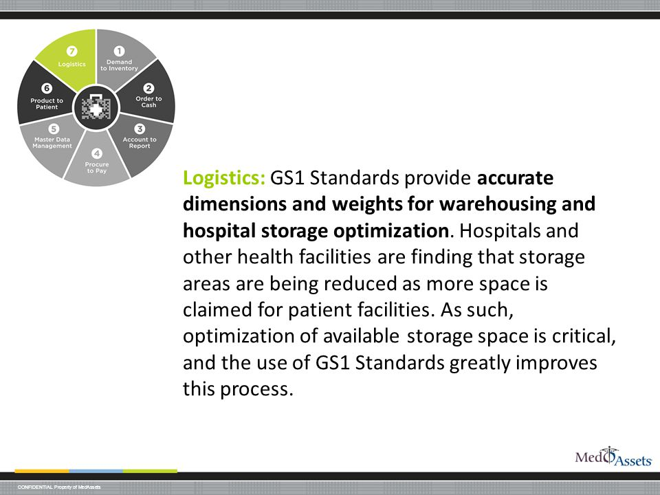 Logistics: GS1 Standards provide accurate dimensions and weights for warehousing and hospital storage optimization.