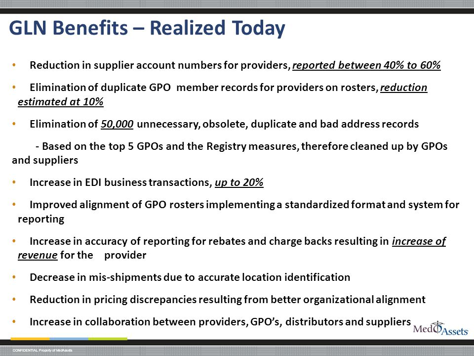 GLN Benefits – Realized Today