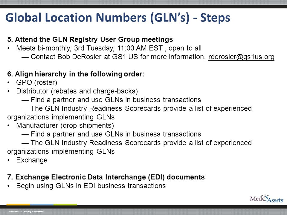 Global Location Numbers (GLN's) - Steps