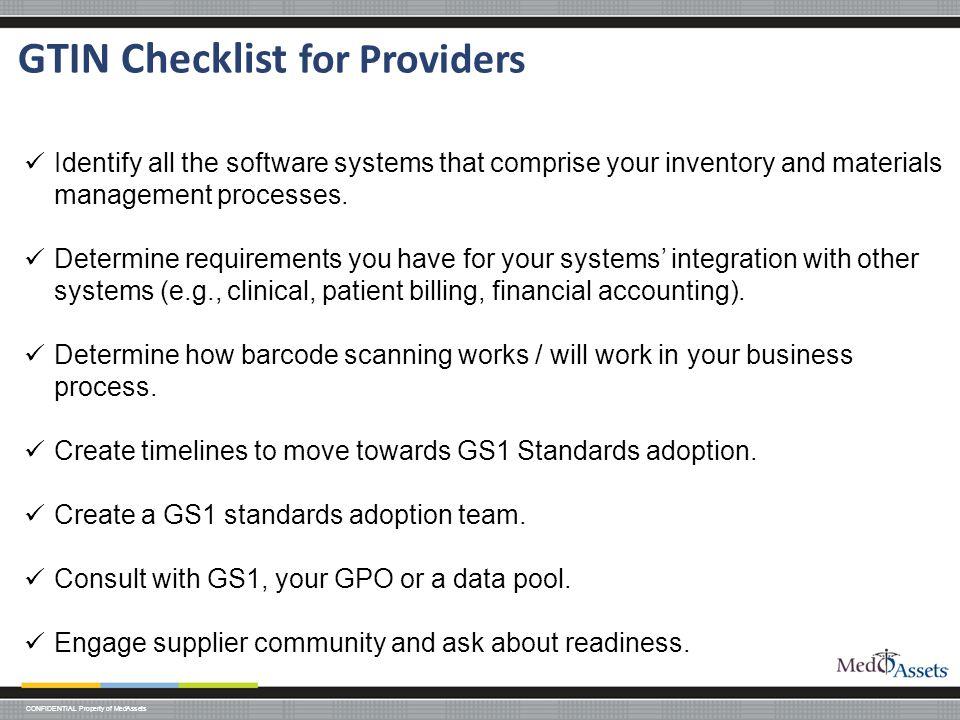 GTIN Checklist for Providers