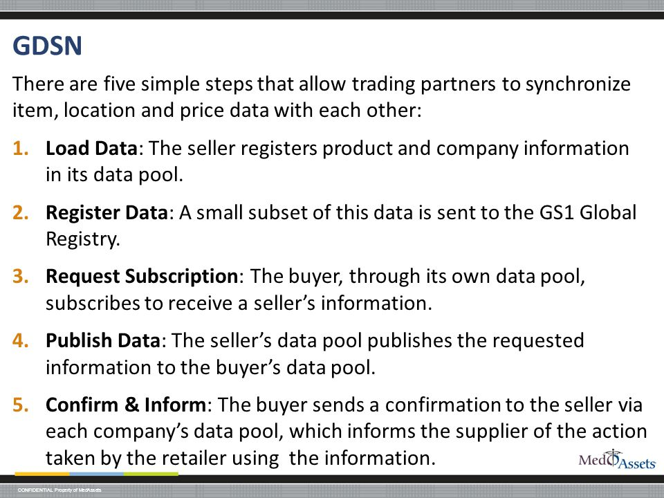 GDSN There are five simple steps that allow trading partners to synchronize item, location and price data with each other: