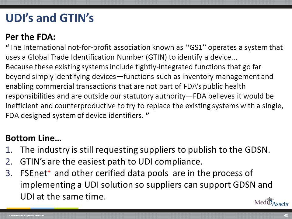 UDI's and GTIN's Per the FDA: Bottom Line…