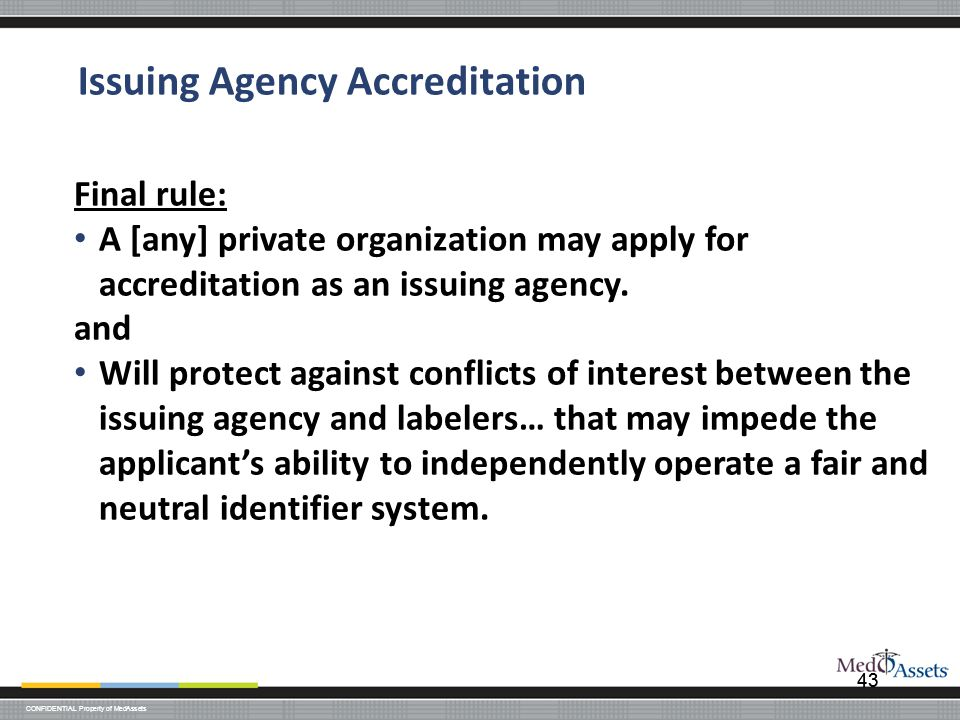Issuing Agency Accreditation