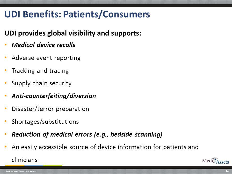 UDI Benefits: Patients/Consumers