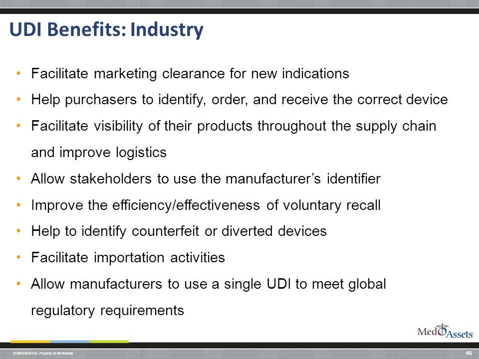 UDI Benefits: Industry
