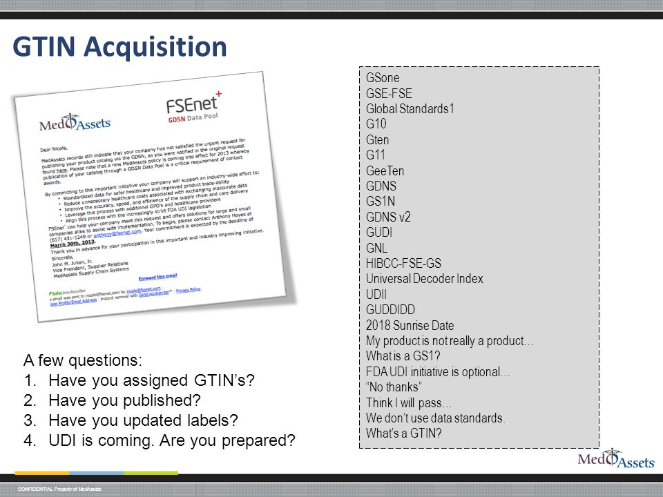 GTIN Acquisition A few questions: Have you assigned GTIN's