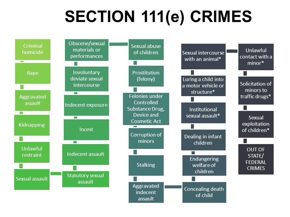 SECTION 111(e) CRIMES Criminal homicide Rape Aggravated assault