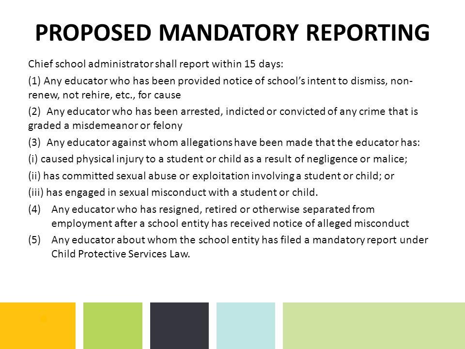 PROPOSED MANDATORY REPORTING