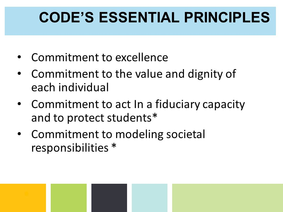 CODE'S ESSENTIAL PRINCIPLES