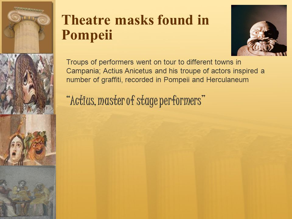 Theatre masks found in Pompeii