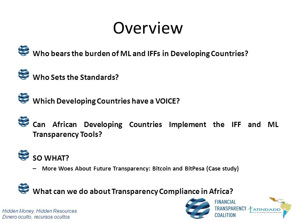 Overview Who bears the burden of ML and IFFs in Developing Countries