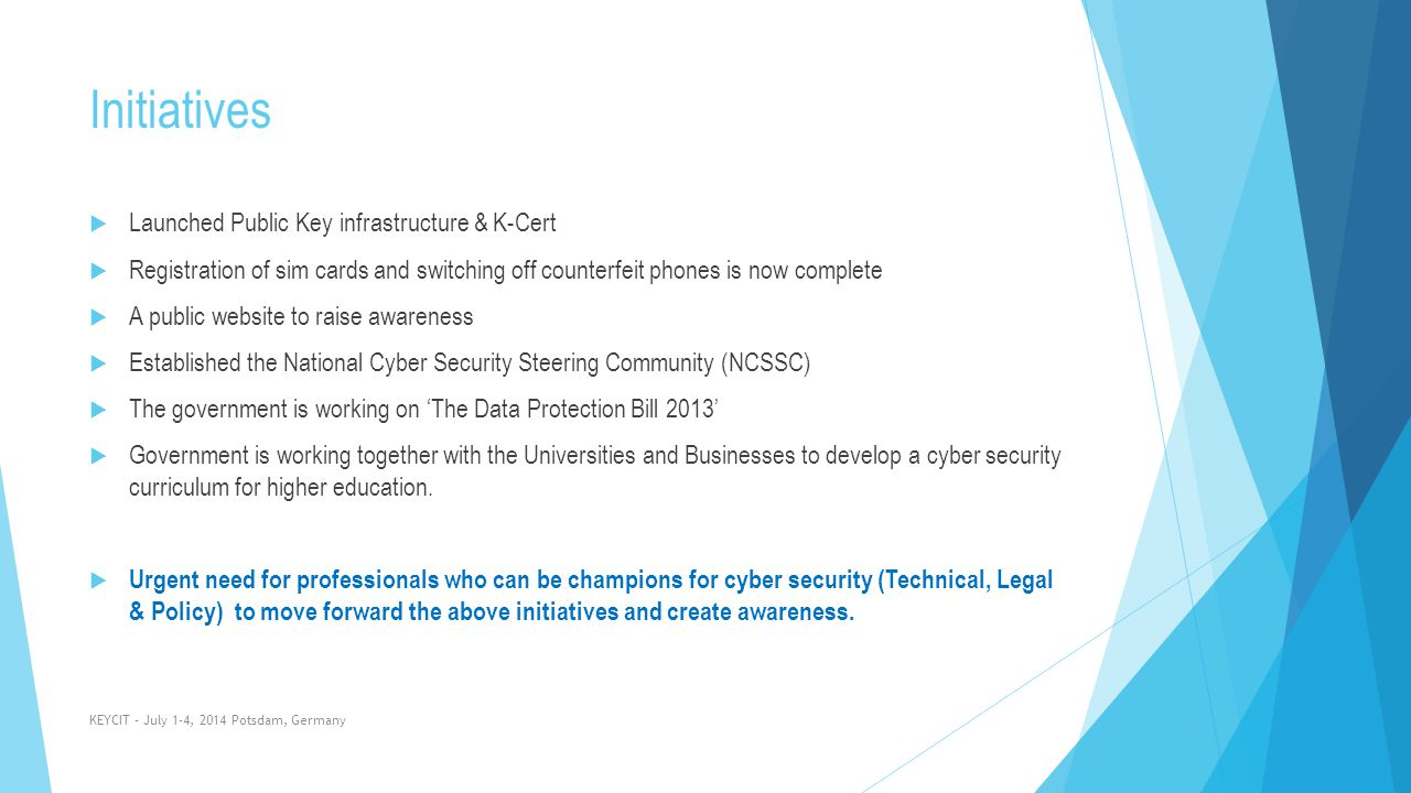 Initiatives Launched Public Key infrastructure & K-Cert