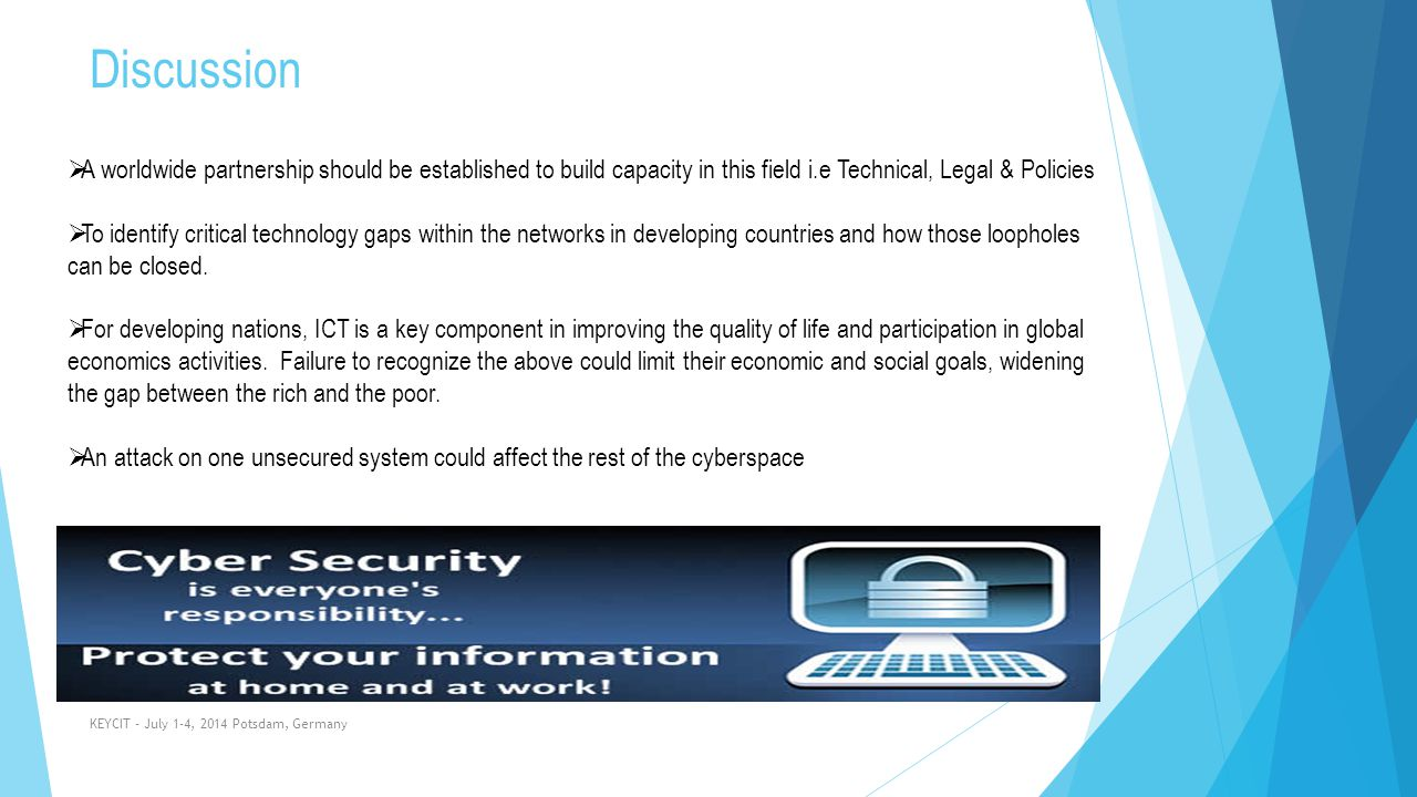 Discussion A worldwide partnership should be established to build capacity in this field i.e Technical, Legal & Policies.