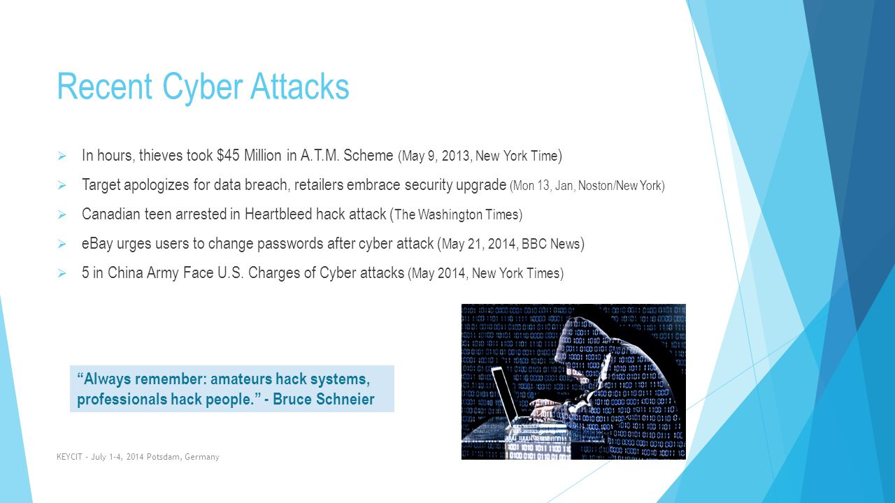 Recent Cyber Attacks In hours, thieves took $45 Million in A.T.M. Scheme (May 9, 2013, New York Time)
