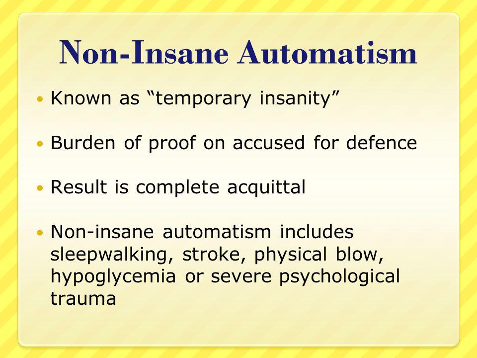 Non-Insane Automatism