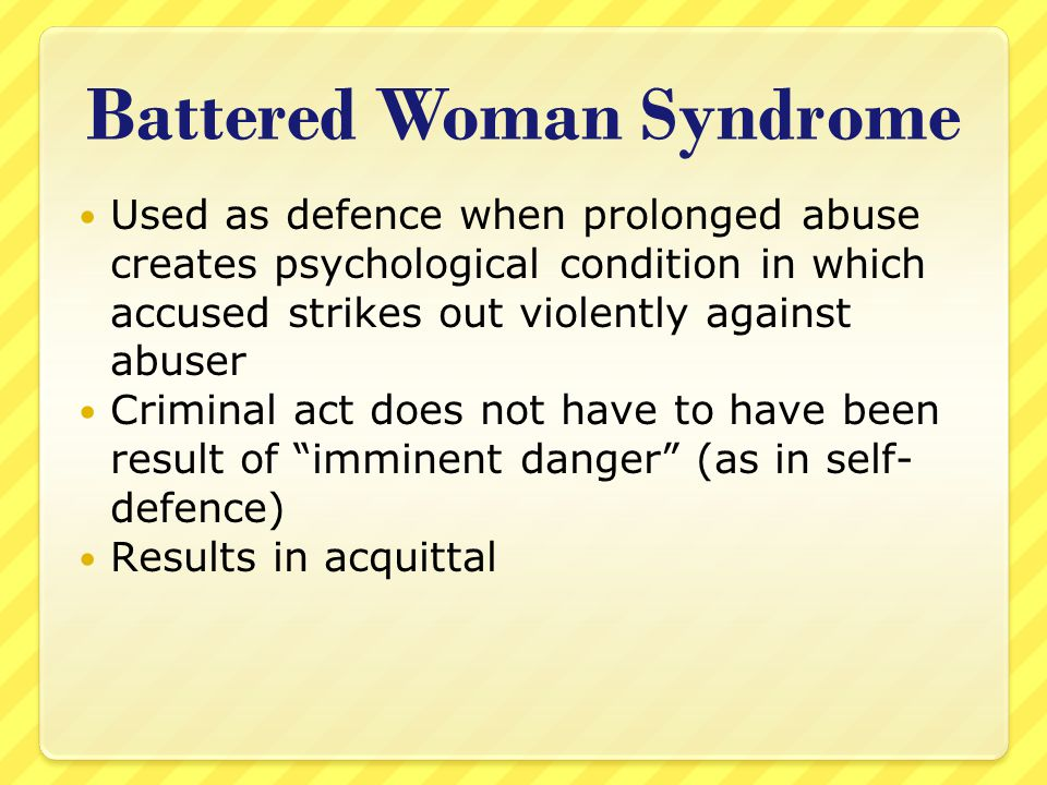 battered woman syndrome defense essay Critique of the battered woman syndrome model critique of the concept battered woman syndrome battered women syndrome and self-defense.