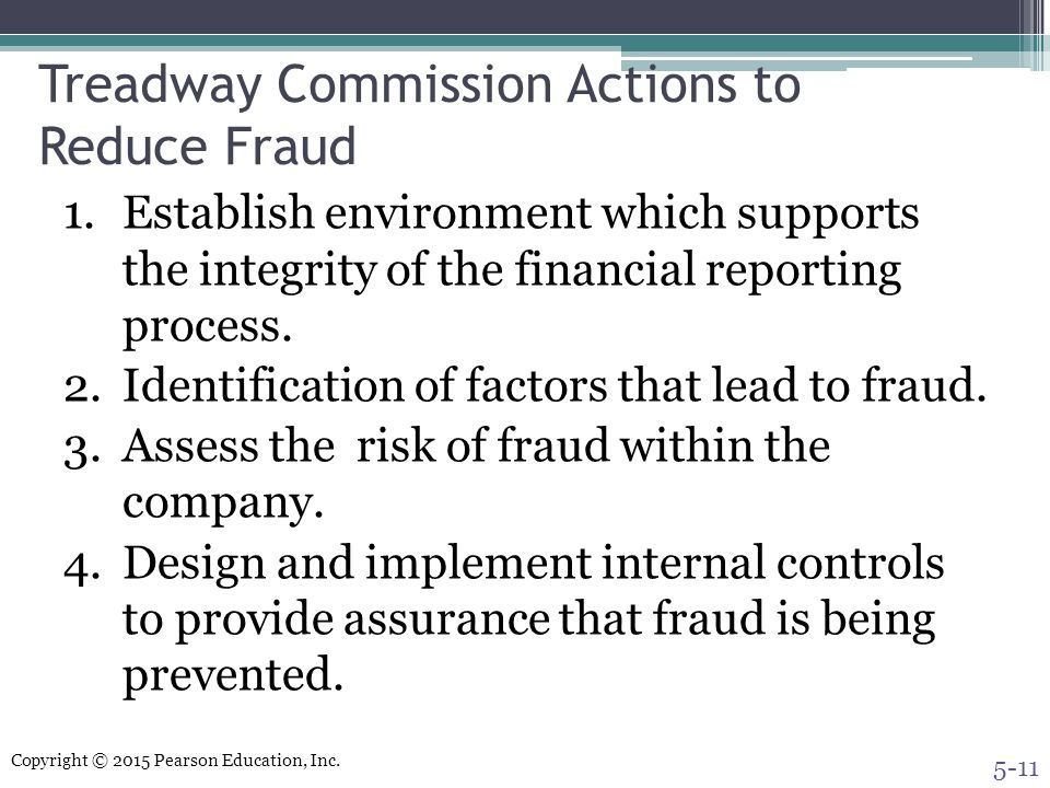 Treadway Commission Actions to Reduce Fraud