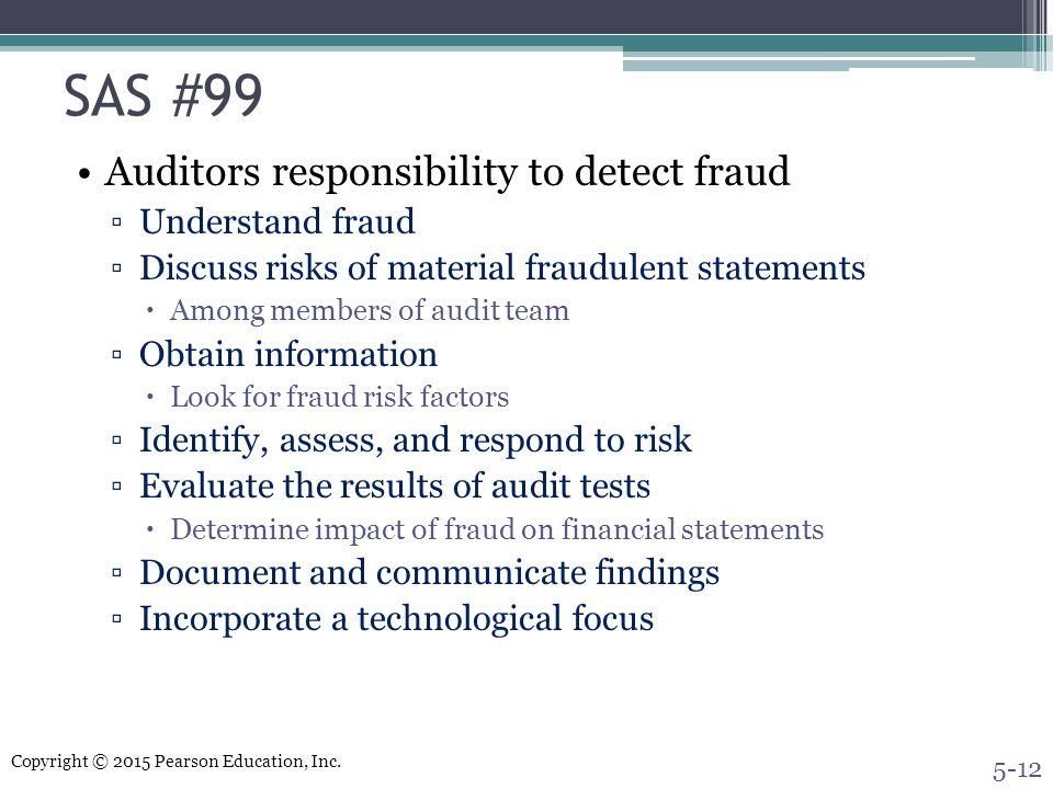 SAS #99 Auditors responsibility to detect fraud Understand fraud