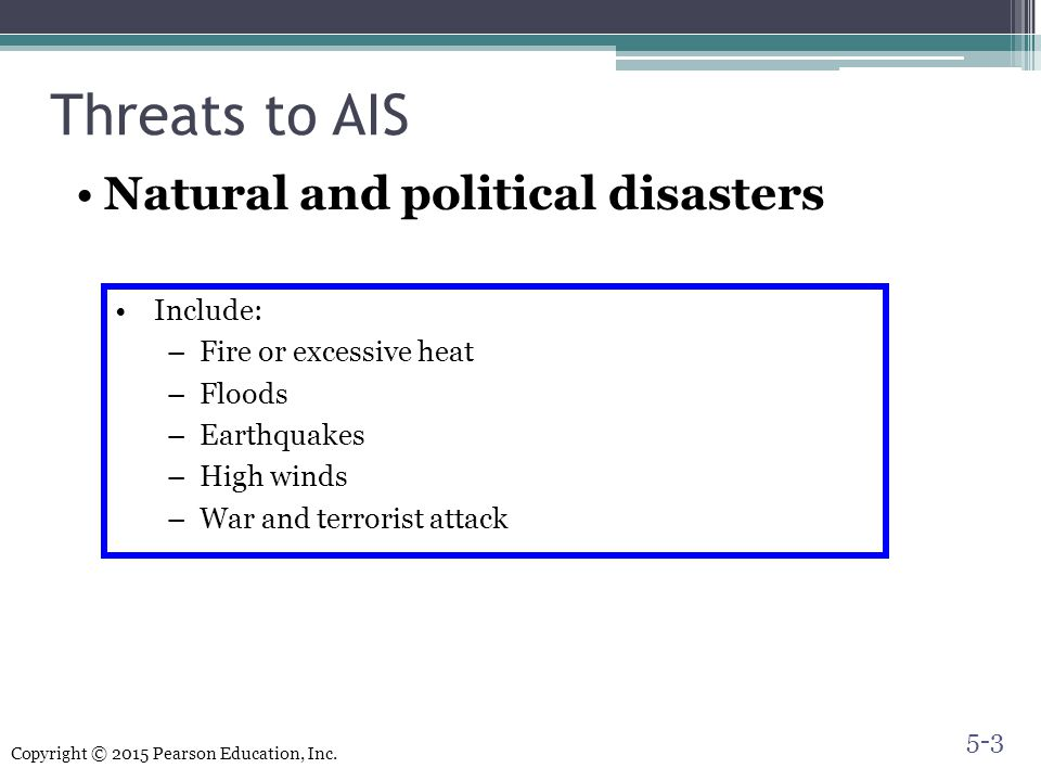 Threats to AIS Natural and political disasters Include: