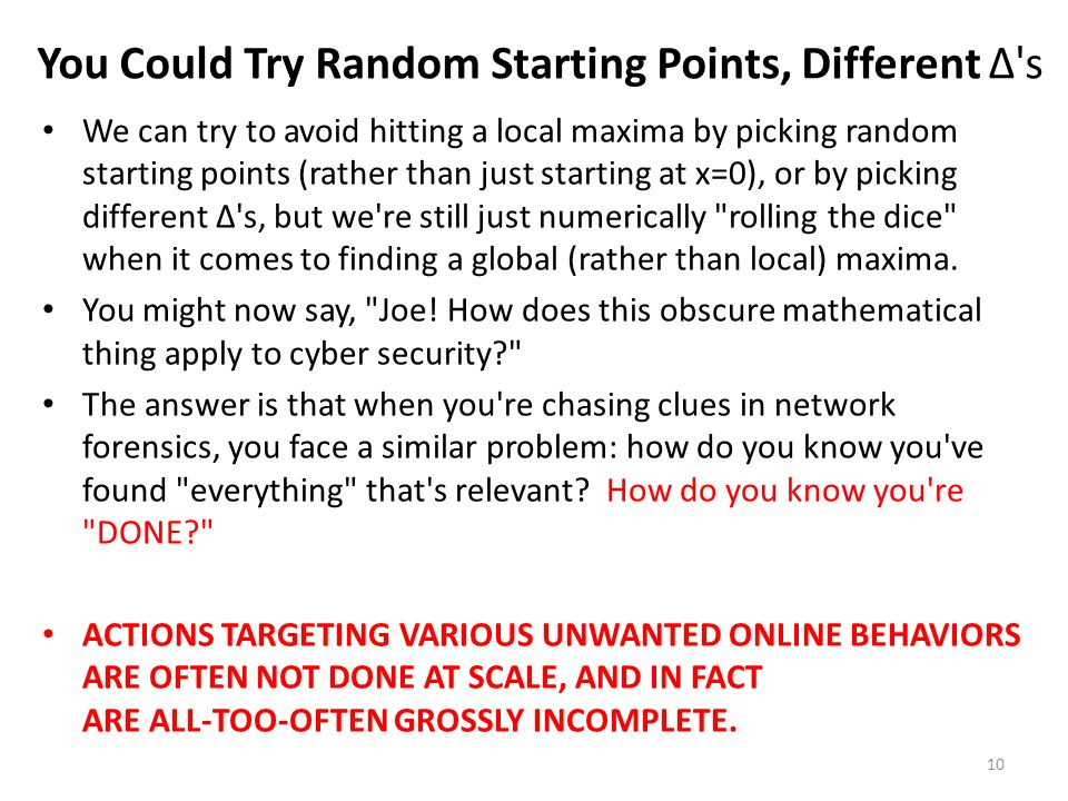 You Could Try Random Starting Points, Different ∆ s