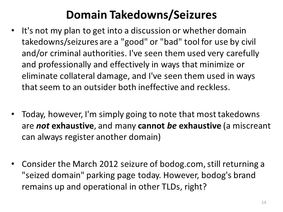 Domain Takedowns/Seizures