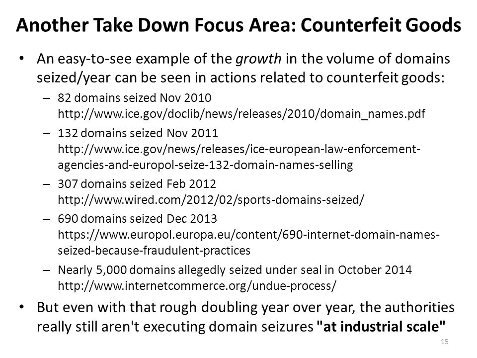 Another Take Down Focus Area: Counterfeit Goods