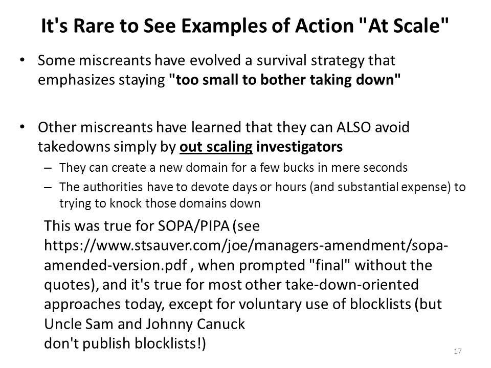 It s Rare to See Examples of Action At Scale