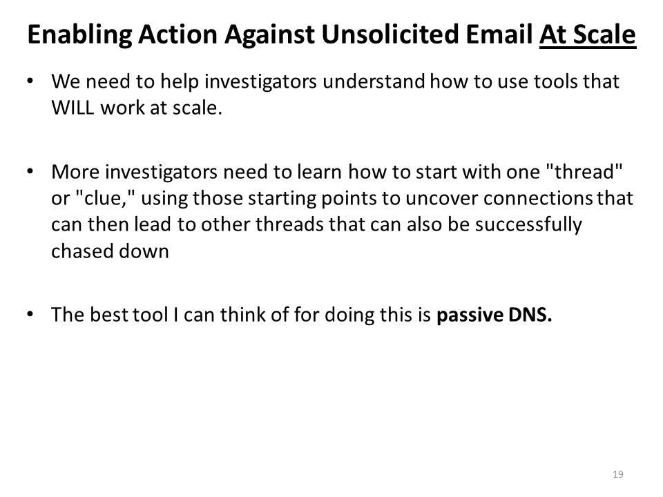 Enabling Action Against Unsolicited Email At Scale
