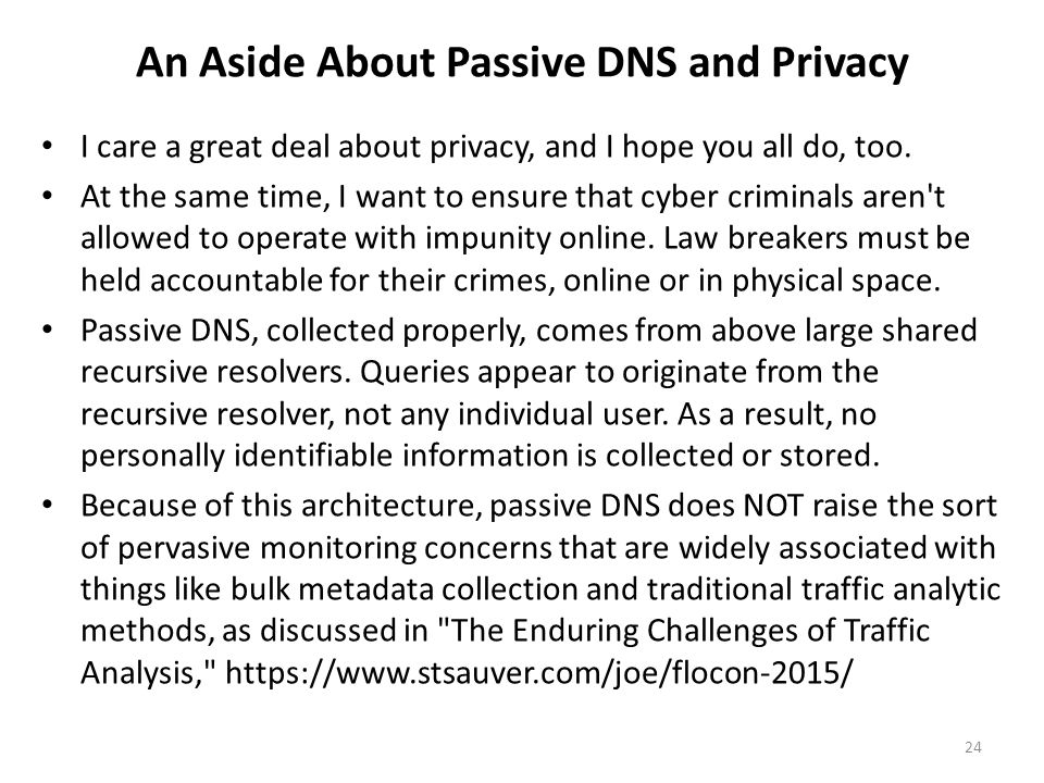 An Aside About Passive DNS and Privacy