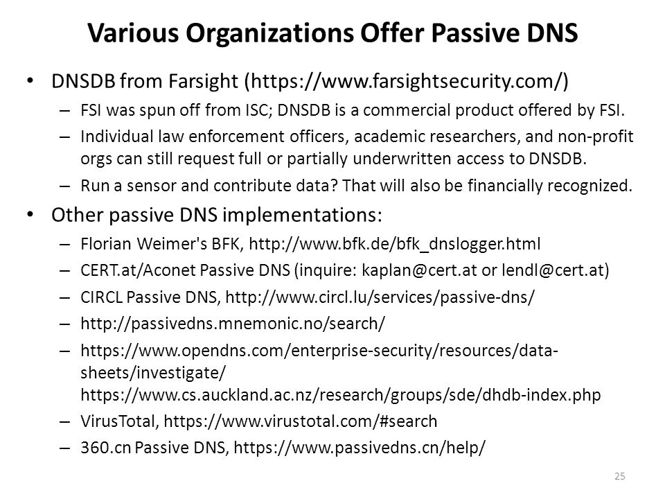 Various Organizations Offer Passive DNS