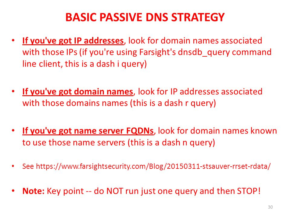 BASIC PASSIVE DNS STRATEGY