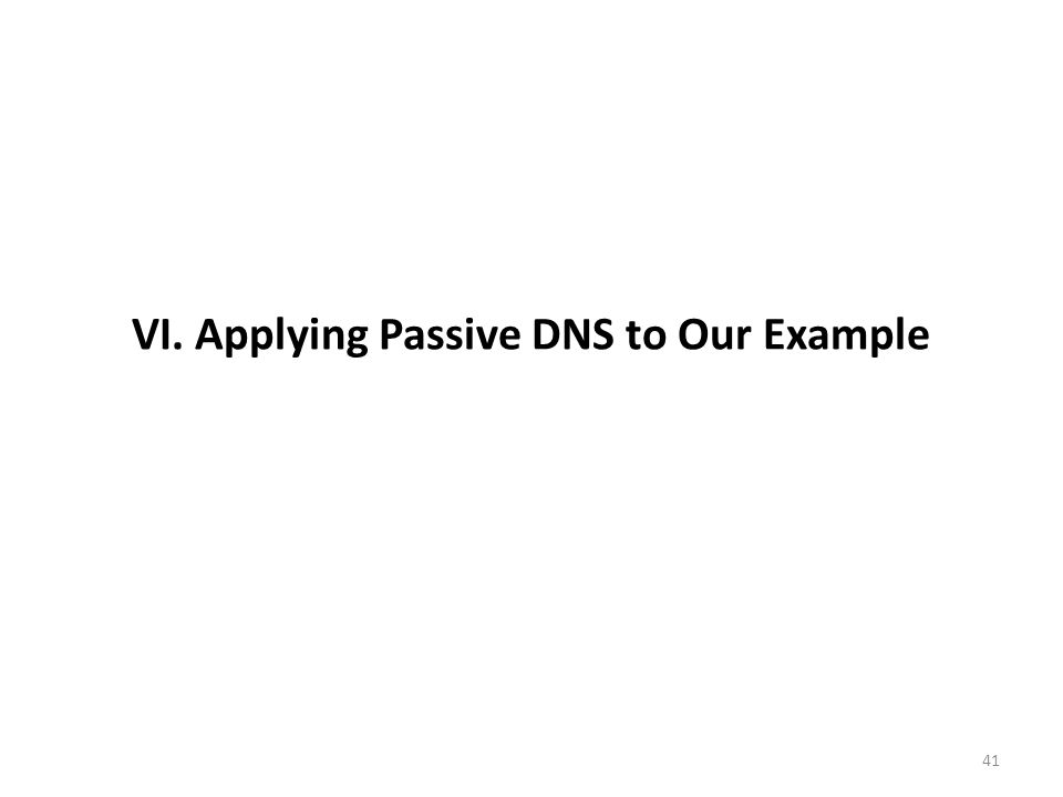 VI. Applying Passive DNS to Our Example