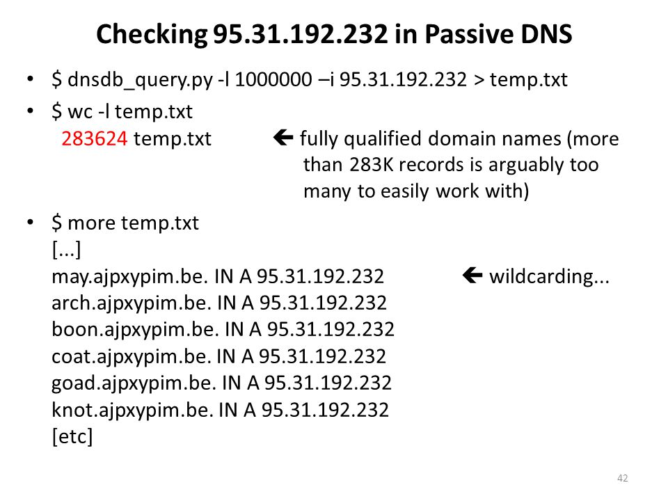 Checking 95.31.192.232 in Passive DNS