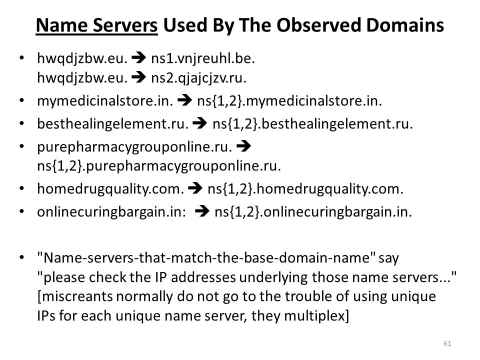 Name Servers Used By The Observed Domains