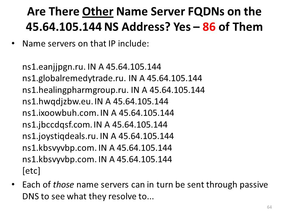 Are There Other Name Server FQDNs on the 45. 64. 105. 144 NS Address