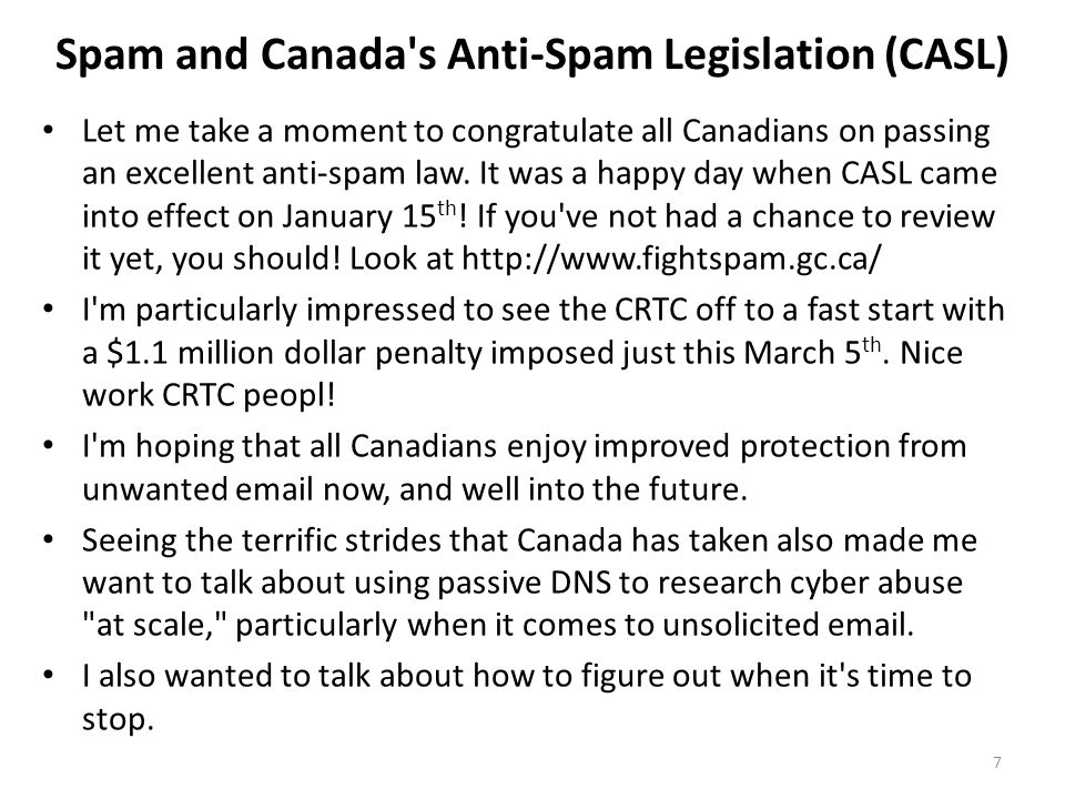 Spam and Canada s Anti-Spam Legislation (CASL)