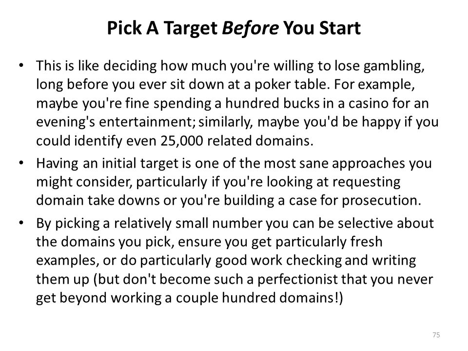 Pick A Target Before You Start