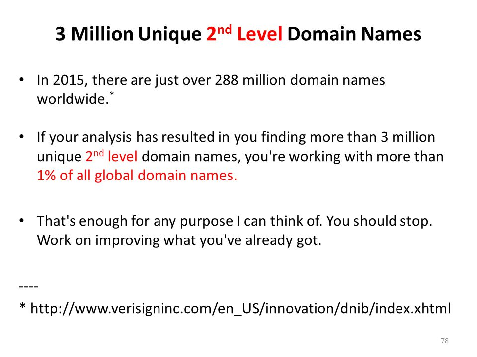 3 Million Unique 2nd Level Domain Names