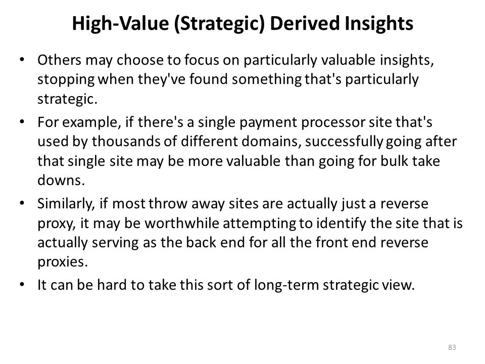 High-Value (Strategic) Derived Insights