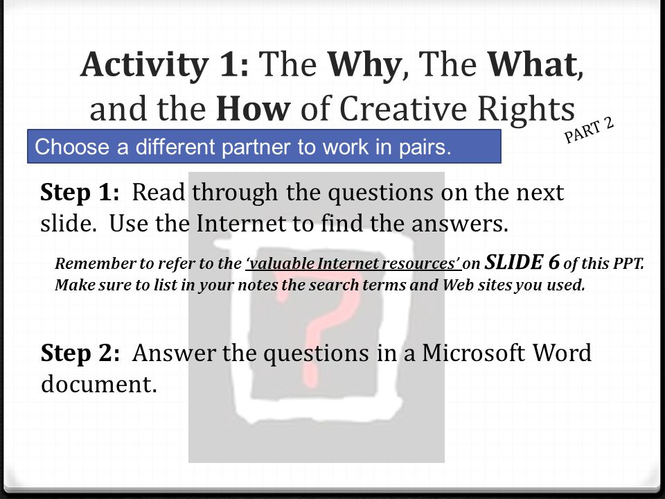 Activity 1: The Why, The What, and the How of Creative Rights